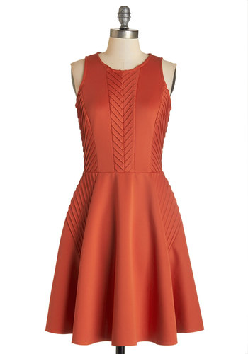 Lucky Pintucks Dress - Solid, Party, Sleeveless, Knit, Better, Scoop, Fit & Flare, Orange, Work
