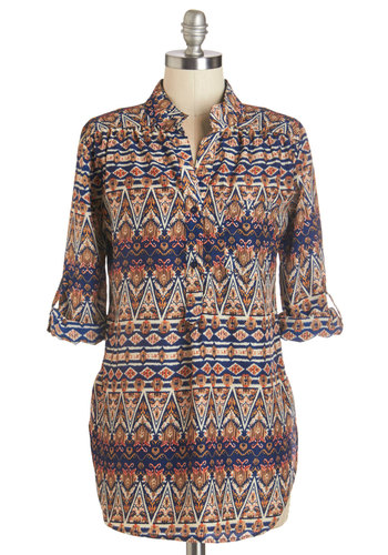 Where It's Mat Top in Ikat - Long, Multi, Variation, Print, Buttons, Pockets, Casual, 3/4 Sleeve, Fall