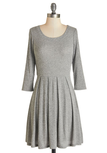 Out for the Day Dress - Grey, Solid, Pleats, Casual, A-line, Long Sleeve, Fall, Knit, Good, Scoop, Short