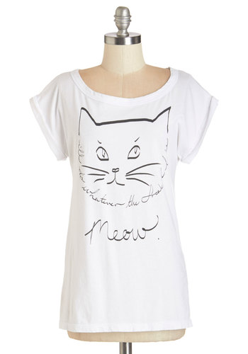 Feline by Me Tee - Knit, Cotton, Mid-length, White, Black, Print with Animals, Casual, Cats, Short Sleeves