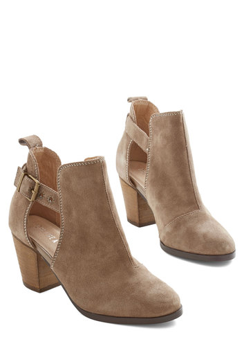 Started from the Blossom Bootie by Chelsea Crew - Mid, Leather, Suede, Tan, Solid, Buckles, Better, Cutout