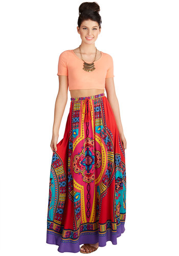 Resort Reviewer Skirt in Cabana - Maxi, Knit, Good, Red, Multi, Beach/Resort, Boho, Festival, Variation, Novelty Print, Long