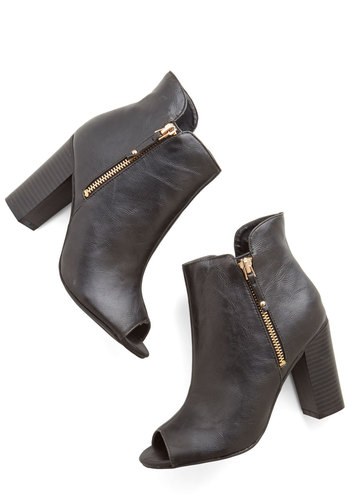 Feature of the Night Bootie - Mid, Faux Leather, Black, Solid, Exposed zipper, Girls Night Out, Urban, Good, Peep Toe, Chunky heel