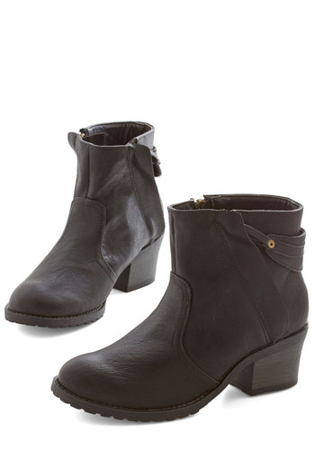 Up Jumps the Bootie - Mid, Faux Leather, Black, Solid, Urban, Good, Casual
