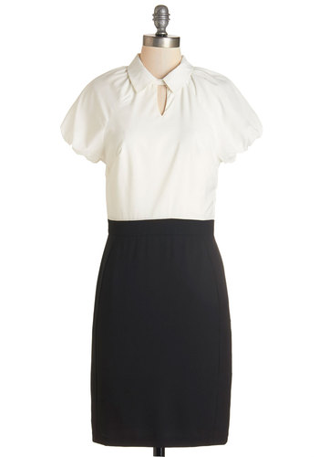 Off and Runway Dress - Black, White, Work, Casual, French / Victorian, Scholastic/Collegiate, Shift, Short Sleeves, Woven, Better, Collared