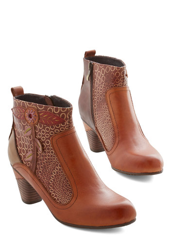 Bliss from a Rose Bootie - Mid, Leather, Tan, Print, Best, Chunky heel, Fall