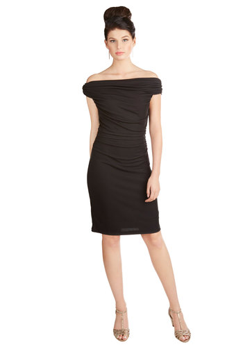 Go-To Gorgeous Dress - Black, Solid, Girls Night Out, Knit, Better, Ruching, Party, LBD, Off the Shoulder, Sheath, Mid-length