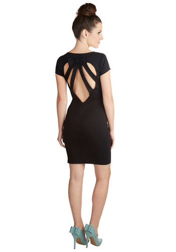 Cast from the Past Dress - Black, Solid, Bows, Cutout, Party, LBD, Shift, Cap Sleeves, Good, Crew, Knit, Mid-length