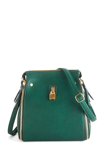 Frame of Pine Bag by Melie Bianco - Green, Gold, Solid, Exposed zipper, Green, Fall, Press Placement