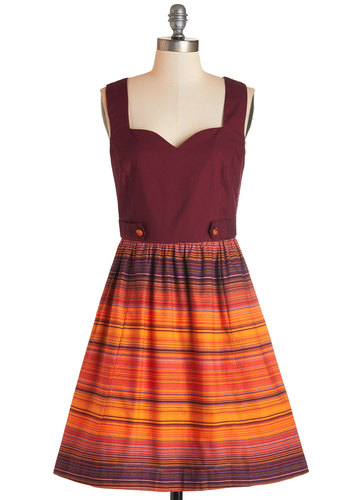 Along the Horizon Dress by Bea & Dot - Woven, Multi, Stripes, Buttons, Casual, A-line, Sleeveless, Fall, Better, Sweetheart, Red, Orange, Exclusives, Private Label, Full-Size Run