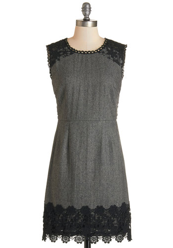 Tend to Thrill Dress - Grey, Black, Herringbone, Crochet, Scallops, Trim, Work, Shift, Sleeveless, Fall, Woven, Scoop