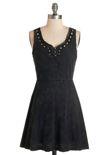 Breezy Like Sunday Evening Dress - Black, Solid, Buttons, Cutout, Casual, A-line, Sleeveless, Knit, Good, Scoop, Cotton