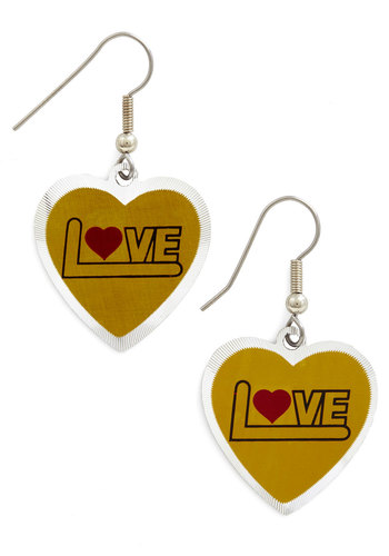 Heart and Bold Earrings - Yellow, Red, Black, Solid, Valentine's, Vintage Inspired, 70s, 80s, Silver, Yellow, Festival, Boho