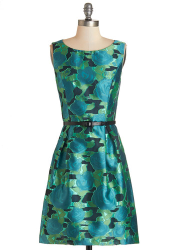 Everywhere You Glow Dress - Green, Blue, Floral, Belted, Party, Daytime Party, A-line, Sleeveless, Woven, Better, Scoop