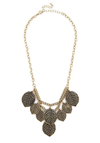 Leafing Through the Options Necklace - Solid, Casual, Statement, Gold, Fall