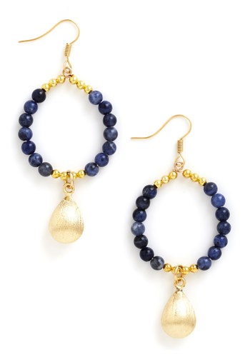 Dropping By Earrings - Blue, Solid, Cocktail, Beads