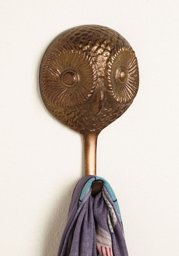 Owl and About Wall Hook - Bronze, Owls, Good, Solid, Mid-Century, Critters, Woodland Creature, Rustic