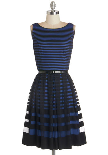 Reservations for Romance Dress - Blue, Black, Stripes, Belted, Party, Daytime Party, A-line, Sleeveless, Better, Boat, Knit