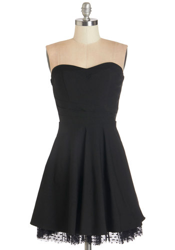 Unquestionably Cute Dress - Black, Prom, Party, Vintage Inspired, 50s, A-line, Strapless, Woven, Tulle, Good, Sweetheart, Solid, Exposed zipper, Cocktail, Homecoming, LBD