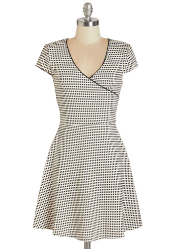 Days Go Buyer Dress - Black, White, Checkered / Gingham, Trim, Casual, A-line, Cap Sleeves, Fall, Knit, Good, V Neck