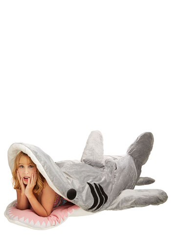 Sea-nic Adventures Sleeping Bag in Great White Shark - Cotton, Woven, Grey, Nautical, Statement, Quirky, Best, Print with Animals, Travel, Variation, Critters