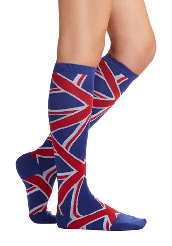 Union Jack of All Trades Socks - Red, White, Mod, Darling, Knit, Multi, Blue, Novelty Print, Casual, Fall, Winter