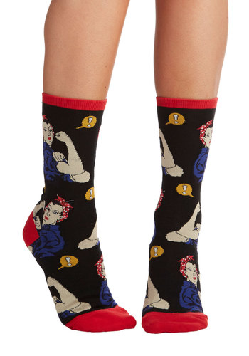 Simply Riveting Socks in Black - Black, Multi, Darling, Americana, Knit, Novelty Print, Casual, Variation