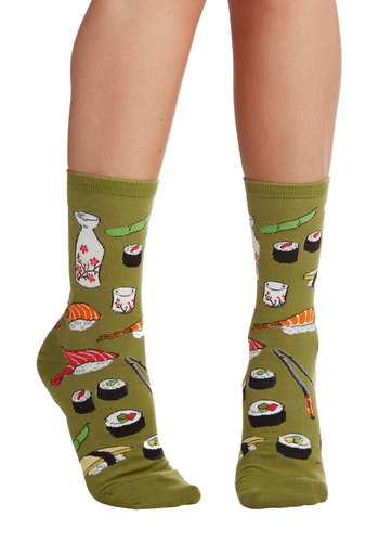 Say What You Sushi Socks - Green, Quirky, Darling, Food, Knit, Novelty Print