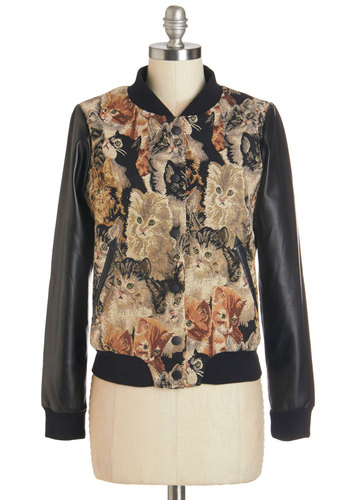 This Magic Meow-ment Jacket by Miss Patina - Faux Leather, Woven, Multi, Tan / Cream, Black, Print with Animals, Buttons, Pockets, Casual, Quirky, Cats, Critters, Long Sleeve, Fall, 1