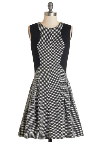 Computing Cute Dress - Black, White, Polka Dots, Casual, A-line, Sleeveless, Knit, Better, Scoop