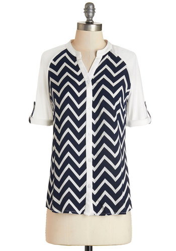 Day by the Bay Top - Sheer, Knit, Woven, Black, White, Chevron, Buttons, Casual, Nautical, Short Sleeves, Mid-length, Multi, Tab Sleeve
