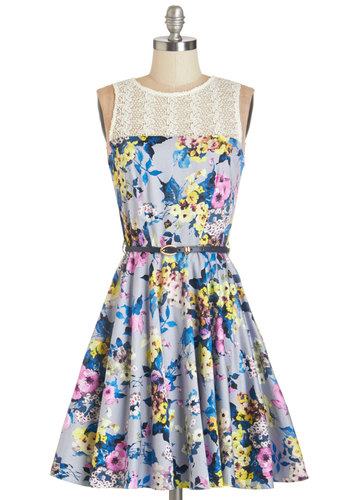 Bloom for More Dress by Closet London - Multi, Floral, Belted, Daytime Party, Woven, Better, Lace, Lace, Pockets, Fit & Flare, Sleeveless, Spring, Mid-length