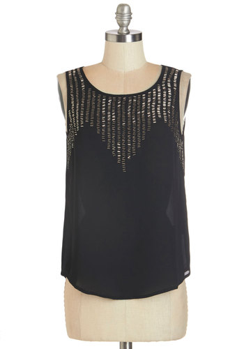 Shimmer Shake Top - Chiffon, Sheer, Woven, Black, Gold, Beads, Party, Sleeveless, Scoop, Black, Sleeveless