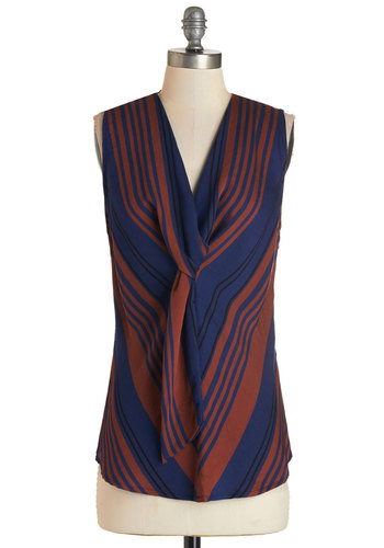Eva Franco On the Glam-paign Trail Top in Waves by Eva Franco - Woven, Multi, Red, Blue, Stripes, Tie Neck, Work, Sleeveless, Variation, V Neck, Multi, Sleeveless, Mid-length, Exclusives