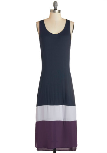 Carefree to Be Dress - Blue, Purple, Casual, Beach/Resort, Maxi, Sleeveless, Woven, Good, Scoop, Jersey, Knit