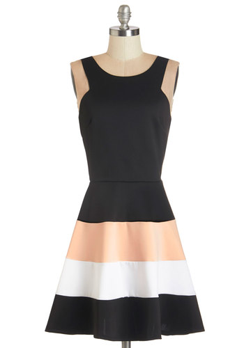 Spin into Style Dress - White, Stripes, Casual, A-line, Sleeveless, Fall, Knit, Good, Scoop, Black, Pink