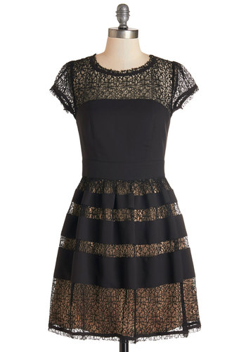 Such a Vibrant Swing Dress - Black, Tan / Cream, Trim, Special Occasion, Party, A-line, Cap Sleeves, Woven, Better, Scoop, Lace