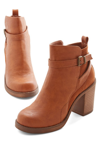 Stride and Chic Bootie - Mid, Faux Leather, Tan, Solid, Chunky heel