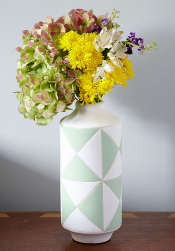 Mum To My Window Vase - Multi, Mod, Good, White, Mint, Print, Pastel, Gals, Hostess, Press Placement
