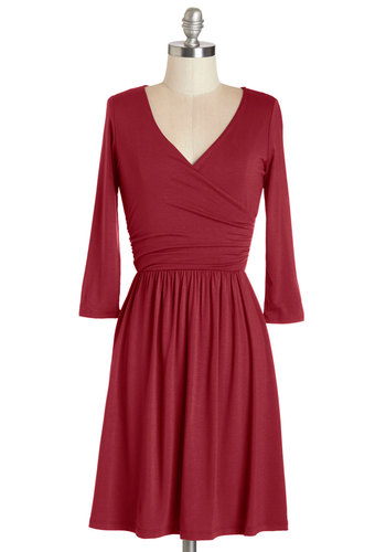 Everywhere You Flow Dress in Cranberry - Red, Solid, Work, Casual, A-line, Long Sleeve, Fall, Knit, Good, V Neck, Jersey, Short, Ruching, Variation