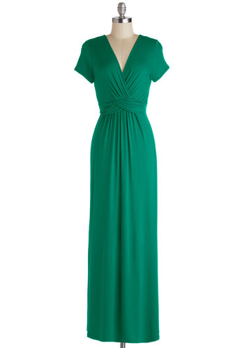Sunset Free Dress in Pine - Green, Solid, Casual, Maxi, Short Sleeves, Fall, Knit, Good, V Neck, Long, Ruching, Variation