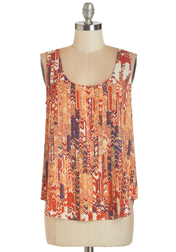 Gettin' Ziggy With It Top - Multi, Sleeveless, Woven, Multi, Chevron, Casual, Tank top (2 thick straps), Scoop