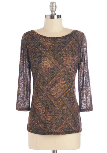 In the Study Top - Multi, 3/4 Sleeve, Sheer, Knit, Multi, Paisley, Casual, 3/4 Sleeve, Fall, Scoop