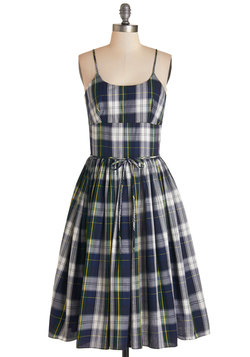 Graceful Greenery Dress in Plaid