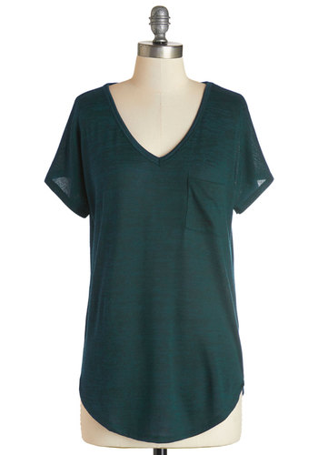Dreamy Day Off Top in Teal - Knit, Green, Solid, Pockets, Casual, Short Sleeves, Variation, Basic, V Neck