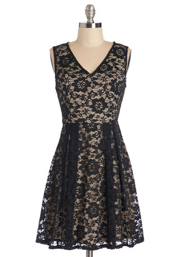 Evening on the Veranda Dress - Knit, Lace, Black, Tan / Cream, Lace, Party, A-line, Sleeveless, V Neck, Prom, Wedding, Bridesmaid