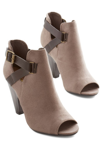 Make it Strappy Bootie in Taupe - High, Faux Leather, Tan, Solid, Cutout, Party, Peep Toe, Variation