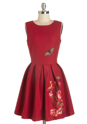 Garden Dreaming Dress in Red - International Designer, Red, Embroidery, Pleats, Casual, A-line, Sleeveless, Fall, Woven, Better, Scoop, Print with Animals, Daytime Party, Variation