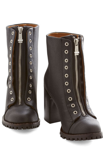Fit to Be Untied Boot - Mid, Black, Solid, Exposed zipper, Statement, Steampunk, Better, Chunky heel, Military, Urban