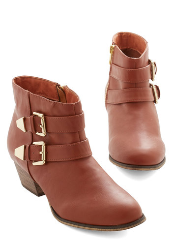 Steady as She Glows Bootie - Low, Faux Leather, Brown, Solid, Buckles, Casual